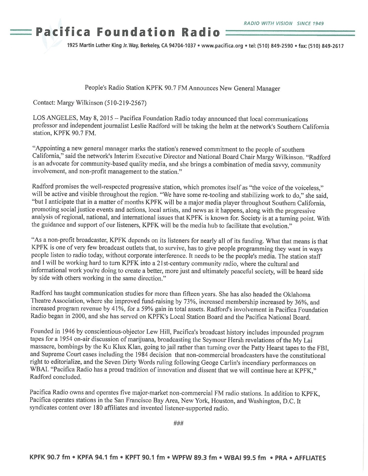 L Radford Press Release 05072015