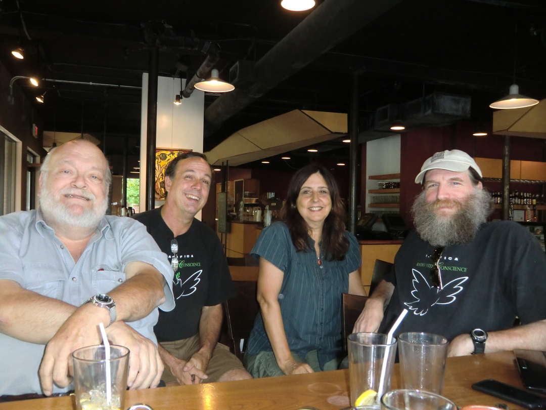 L to R: Paul Nelson of KHOI in Ames, IA, Ellinger, Ruedenberg, and Norm Stockwell of WORT in Madison, WI.